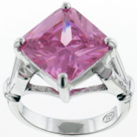Rings - SIZE7  SQUARE CUT PINK CZ STERLING SILVER RING alternate image 2.