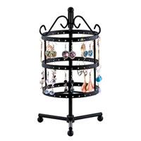 Jewelry Holder - 3  TIERS BLACK ROTATING SPIN EARRING HOLDER ORGANIZER STAND JEWELRY DISPLAY RACK alternate image 1.