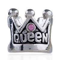 European Beads - PINK CRYSTAL QUEEN CROWN FIT ALL BRANDS SILVER PLATED BEADS CHARMS BRACELETS alternate image 2.