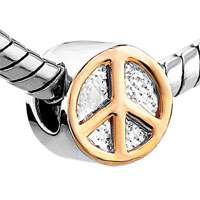 European Beads - GOLDEN PEACE LOGO TWO TONE PLATED BEADS CHARMS BRACELETS alternate image 1.