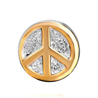European Beads - GOLDEN PEACE LOGO FIT ALL BRANDS TWO TONE PLATED BEADS CHARMS BRACELETS alternate image 2.