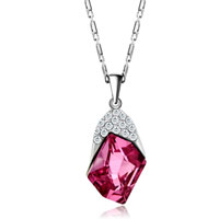 Necklace & Pendants - OCTOBER BIRTHSTONE ROSE CZ CRYSTAL PENDANT EARRINGS SET GREAT GIFTS alternate image 2.