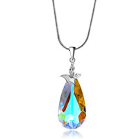 Necklace & Pendants - BEAUTIFUL COLOR LIGHT SWAROVSKI CRYSTAL DROP PENDANT EARRINGS SET KNOT alternate image 1.