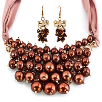 Earrings - BLING JEWELRY BROWN PEARLS NECKLACE AND EARRINGS SET FITS BANQUET PENDANT alternate image 2.