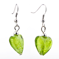 Necklace & Pendants - 3  PIECES OF PALE GREEN ROUND HEART MURANO GLASS PENDANT EARRINGS SET alternate image 2.