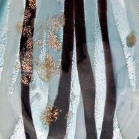 Necklace & Pendants - PALE BLUE LEAF PEACH MURANO GLASS LAMPWORK PENDANT NECKLACE alternate image 1.