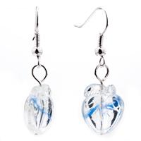 Necklace & Pendants - PALE BLUE LEAF PEACH MURANO GLASS LAMPWORK PENDANT NECKLACE alternate image 2.