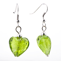 Necklace & Pendants - PALE GREEN HEART LINE MURANO GLASS PENDANT EARRINGS SET alternate image 2.