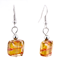 Necklace & Pendants - YELLOW ROUND SQUARE EARRINGS MURANO GLASS PENDANT EARRINGS SET alternate image 2.