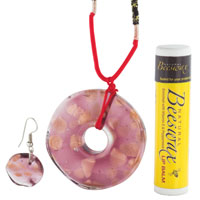 Murano Glass Jewelry - PINK AND GOLD PENDANT MURANO GLASS JEWELRY SET alternate image 1.