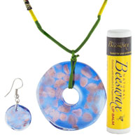 Murano Glass Jewelry - BLUE AND GOLD PENDANT MURANO GLASS JEWELRY SET alternate image 1.