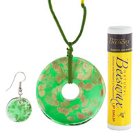 Murano Glass Jewelry - BRIGHT GREEN AND GOLD PENDANT MURANO GLASS JEWELRY SET alternate image 1.