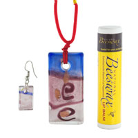 Murano Glass Jewelry - BLUE AND RED RECTANGLE EARRINGS PENDANT MURANO GLASS JEWELRY SET alternate image 1.