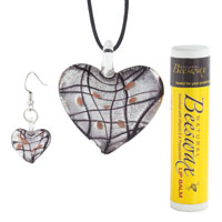  - BLACK GRAY HEART WITH BLACK LINES MURANO GLASS PENDANT AND EARRINGS SET alternate image 1.