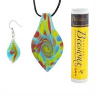 Necklaces - MULTICOLORED TEARDROPS MURANO GLASS PENDANT EARRINGS SET NECKLACE alternate image 1.