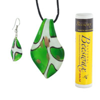 Murano Glass Jewelry - GREEN AND WHITE LEAF MURANO GLASS LAMPWORK PENDANT EARRINGS SET alternate image 1.