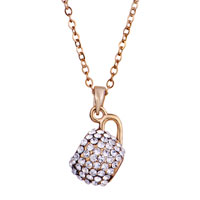 Necklace & Pendants - 18 K GOLD PLATED MISS SMOOTH CLEAR CRYSTAL COUPLE TEACUP NECKLACE PENDANT alternate image 1.