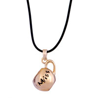 Necklace & Pendants - 18 K GOLD PLATED MISS SMOOTH CLEAR CRYSTAL COUPLE TEACUP NECKLACE PENDANT alternate image 2.