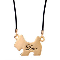 Necklace & Pendants - 18 K GOLD PLATED PUPPY BOWKNOT CLEAR CRYSTAL LOVE COUPLE NECKLACE PENDANT alternate image 2.
