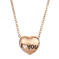 Necklace & Pendants - 18 K GOLD PLATED I LOVE COUPLE HEART SHAPED 2  PIECES PENDANT NECKLACE EARRINGS alternate image 1.