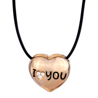 Necklace & Pendants - 18 K GOLD PLATED I LOVE COUPLE HEART SHAPED 2  PIECES PENDANT NECKLACE EARRINGS alternate image 2.
