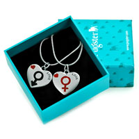 Necklace & Pendants - 2  PIECES OF LOVE HEART RED BLACK HIS &  HERS SYMBOL PENDANT NECKLACE SET alternate image 1.