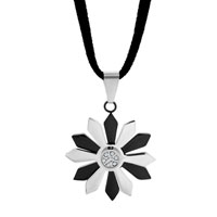 Necklace & Pendants - CLEAR CRYSTAL OPEN FLOWER STAINLESS STEEL PENDANT NECKLACE COUPLES JEWELRY SET alternate image 1.