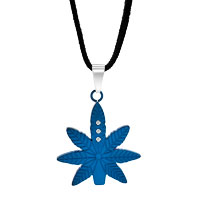 Necklace & Pendants - BLUE MAPLE LEAF PENDANT NECKLACE CLEAR CRYSTAL COUPLES JEWELRY SET alternate image 1.