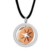 Necklace & Pendants - STAINLESS STEEL TWO TONE RING HOOP STAR PENDANT NECKLACE COUPLE SET alternate image 2.