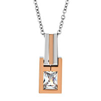 Necklace & Pendants - CLEAR ASSCHER CUT CUBIC ZIRCONIA CZ DIAMOND ACCENT TAG PENDANT NECKLACE COUPLES JEWELRY SET FOR MEN WOMEN TEENS BOYS GIRLS alternate image 2.