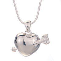 Necklace & Pendants - 2  PIECES OF SMOOTH CLEAR CRYSTAL HEART ARROW COUPLE PENDANT LOVERS EARRINGS alternate image 2.