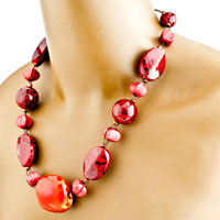 Necklaces - GARNET 4  PIECES OF BRACELET EARRINGS SET PENDANT NECKLACE JEWELRY alternate image 1.