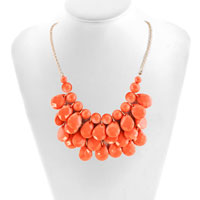 Necklace & Pendants - LIGHT ORANGE SEMI PRECIOUS TURQUOISE STONE PENDANT BUBBLE BIB STATEMENT NECKLACE alternate image 1.