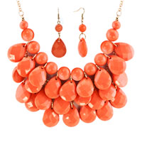 Necklace & Pendants - LIGHT ORANGE SEMI PRECIOUS TURQUOISE STONE PENDANT BUBBLE BIB STATEMENT NECKLACE alternate image 2.