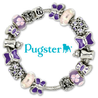 European Beads - PINK CRYSTAL FLEUR DE LIS TWO TONE PLATED BEADS CHARMS BRACELETS alternate image 4.
