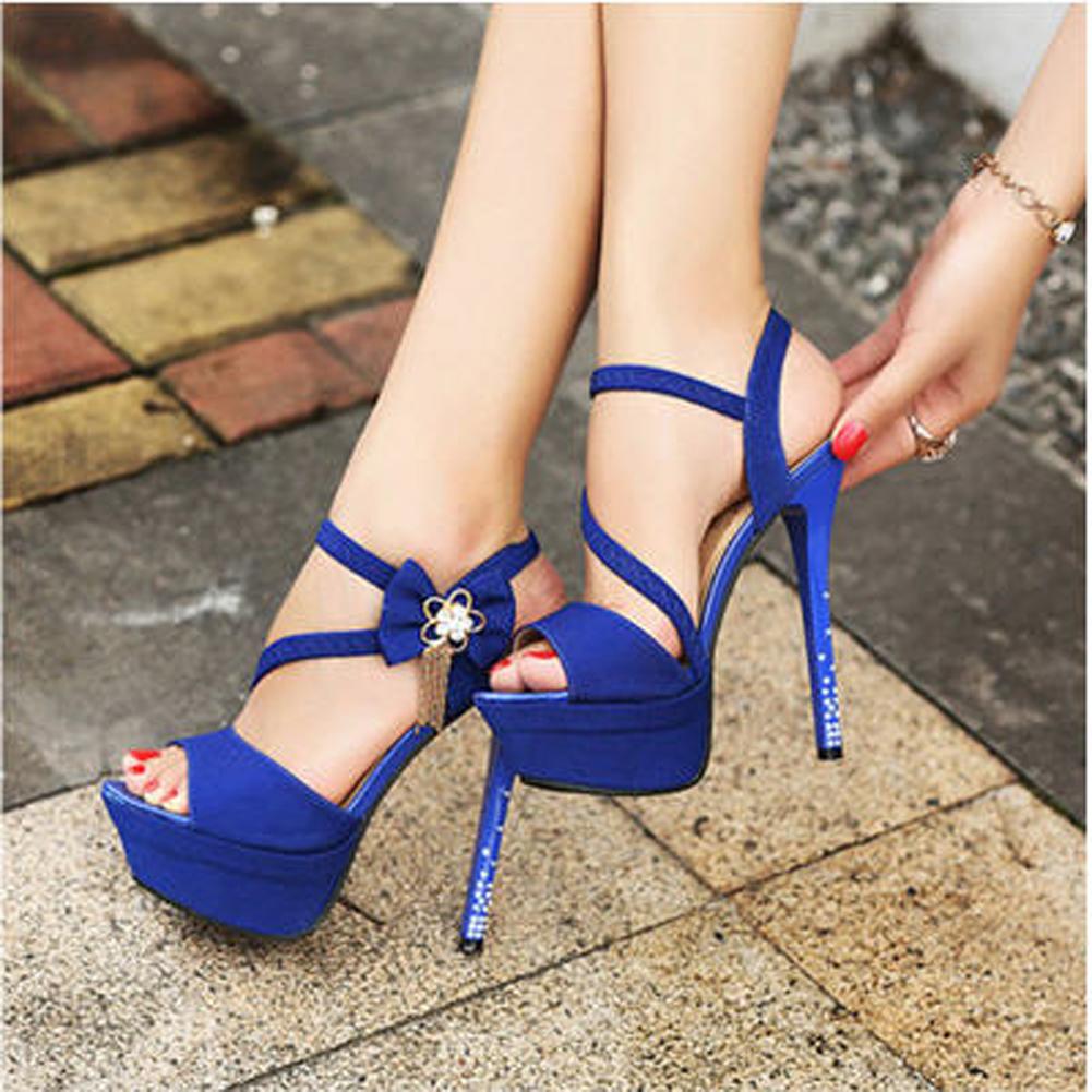 Ladies royal blue peep pumps crystal open toe wedding stiletto high ladies royal blue peep pumps crystal open toe junglespirit Choice Image