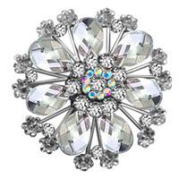 Vintage White Tear Drop Stone Rhinestone Open Floral Flower Leaf Pin Swarovski Crystal Brooches