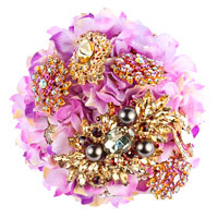 Magenta Pink Bridal Wedding Bouquet Heirloom Crystal Dimond Pearl Brooch Pin