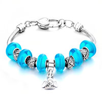 - pure blue murano glass with silver tone angel dangle charm Image.