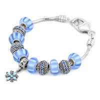 - blue murano glass combined with silver tone flower dangle charm Image.