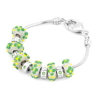 - green murano glass combined with silver tone beads charm Image.
