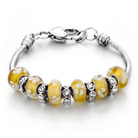 - yellow murano glass combined with silver tone beads charm Image.