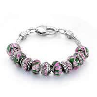 Bracelets - pink flower green murano glass and silver beads charms bracelets fit all brands Image.