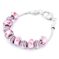 - pink murano glass and silver tone beads charm Image.