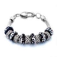 Bracelets - black petal murano glass and silver beads charms bracelets fit all brands Image.