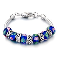 - pink flower blue mixed beads charms bracelets all brands charm Image.