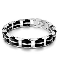 - 12 links linked with 11 stainless steel and rubber link stainless steel men's id bracelet Image.