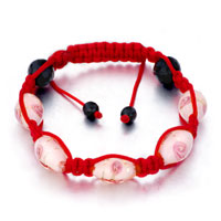  - pink pattern murano glass on red cotton rope adjustable shamballa bracelet Image.