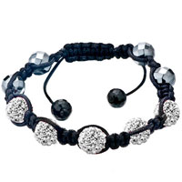 Bracelets - five white disco ball rhinestone adjustable shamballa bracelet bead bracelets Image.
