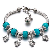 Bracelets - silver plated trendy turquoise gemstone beads dangle fish bracelets charm dangle bracelet Image.